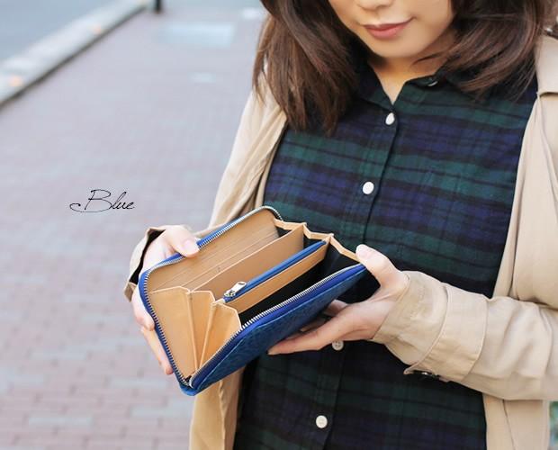 【peroni】牛革クロコ調型押しラウンドファスナー長財布
