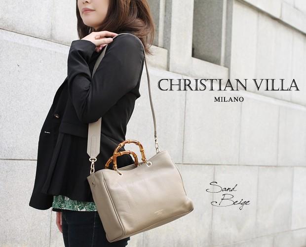 【CHRISTIAN VILLA】バンブーハンドル2wayスクエアミニトートバッグ<リオネッラ>