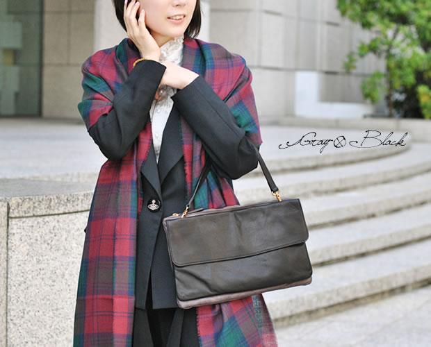 【POPCORN(ポップコーン)】バイカラー クラッチ ハンドバッグ グレー×ブラック