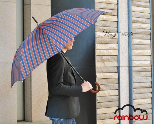 【rainbow】イタリア製ヨークストライプ柄長傘