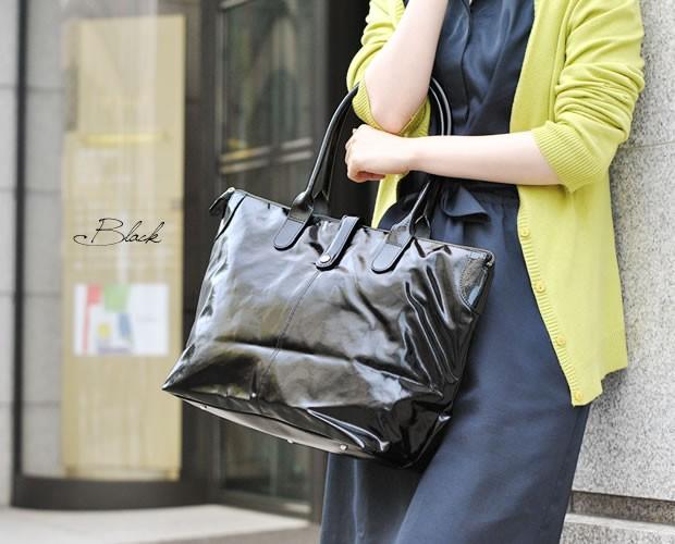 【TEXIER(テキシエ)】フランス製エナメル本革レザー&シンセティックショルダートートバッグ