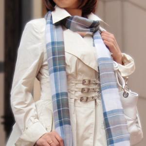 【ロキャロン】ピュアウール100%薄手ストール<ブルードレススチュアート>
