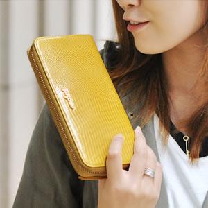 【ancheri(アンシェリ)】リザード型押しラウンドファスナー長財布