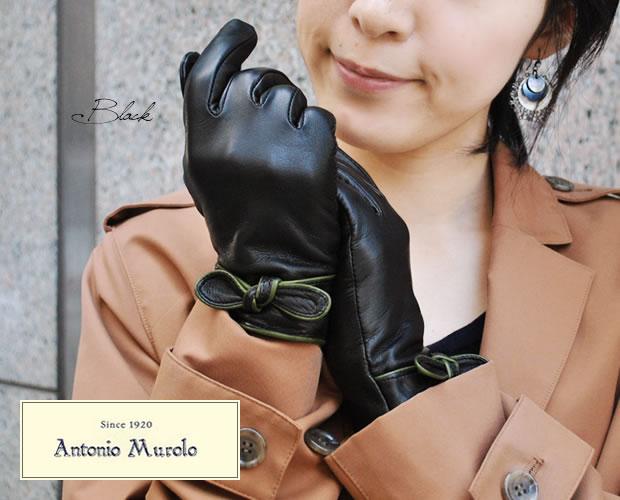 【Antonio Murolo】レディース用本革リボンモチーフグローブ